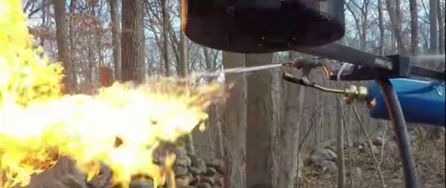 This is a still from the December 2015 flamethrower drone video.
