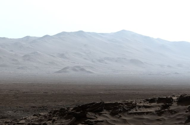 This early morning view of the inner wall of Gale Crater is ethereal.