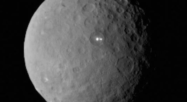 Some of the startlingly bright terrain on Ceres' heavily cratered surface.