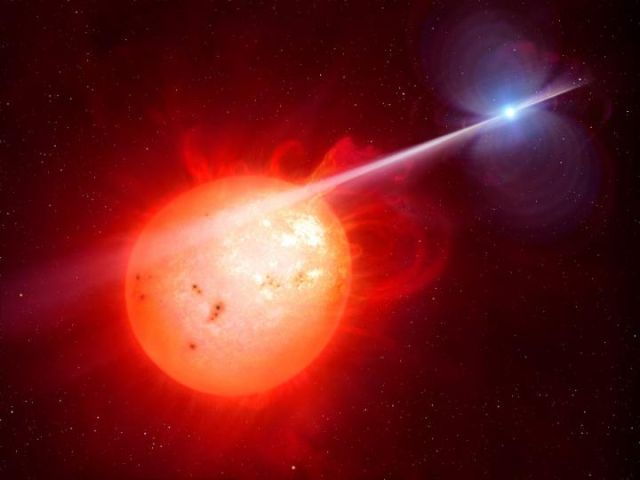 White dwarf bombards its companion with relativistic electrons