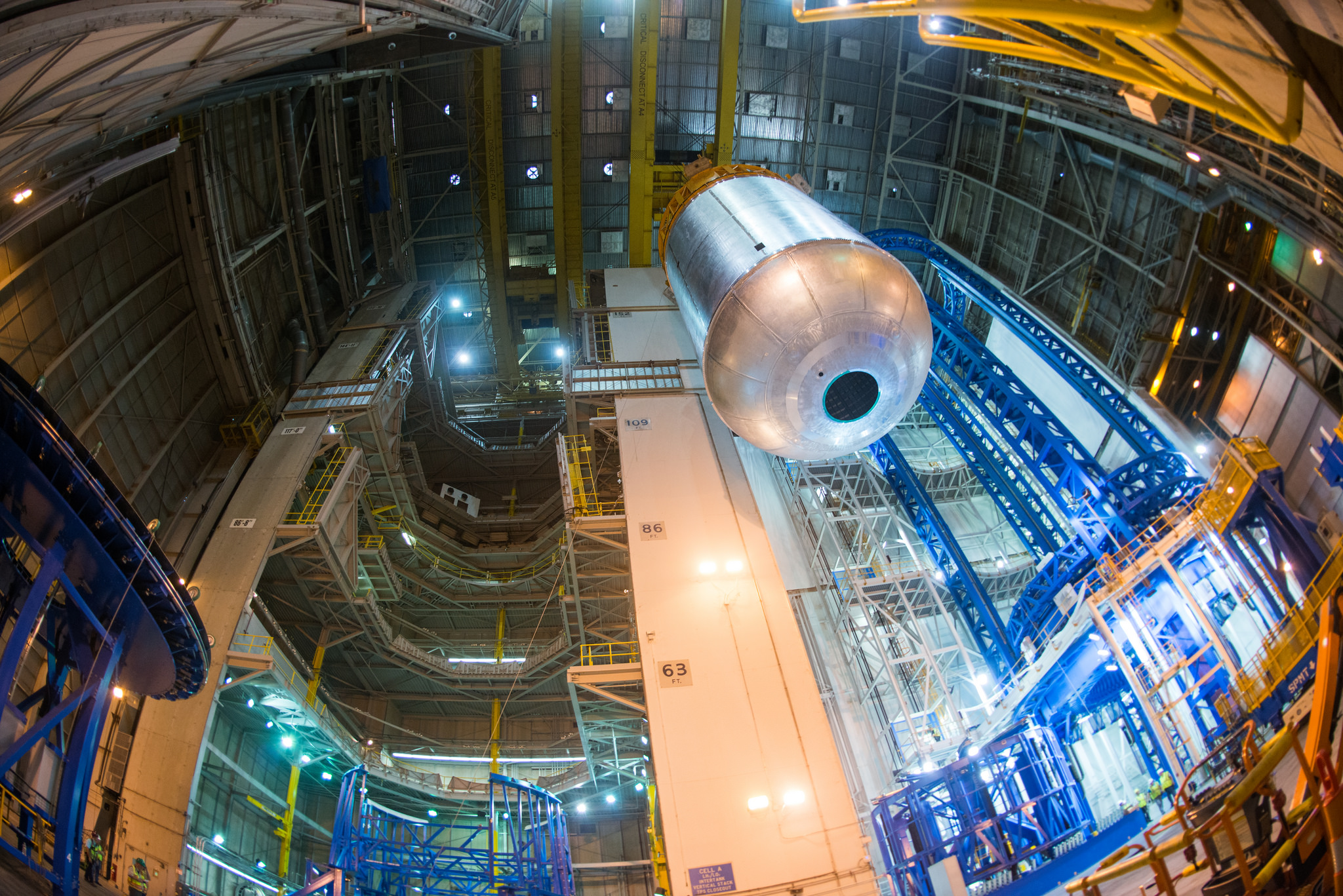 NASA is making progress on building components of its Space Launch System rocket. Here, it has completed welding of a liquid oxygen tank.