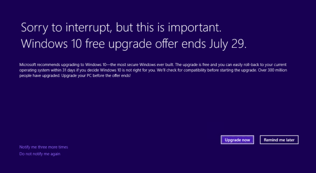The final Windows 10 free upgrade nag will be full-screen