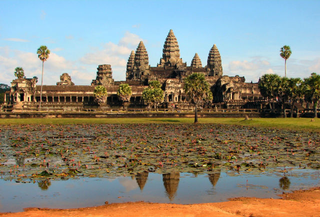 Angkor Wat today, as viewed across a pond next to the 12th-century Hindu temple to Vishnu built under the rule of Suryavarman II.