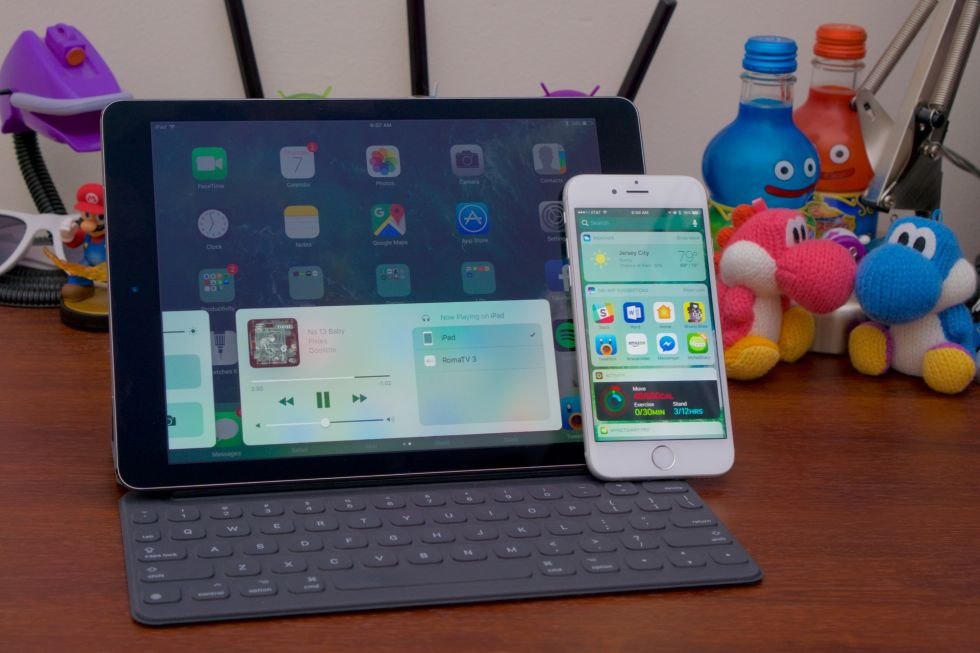 The iOS 10 beta on a 9.7-inch iPad Pro and an iPhone 6S.