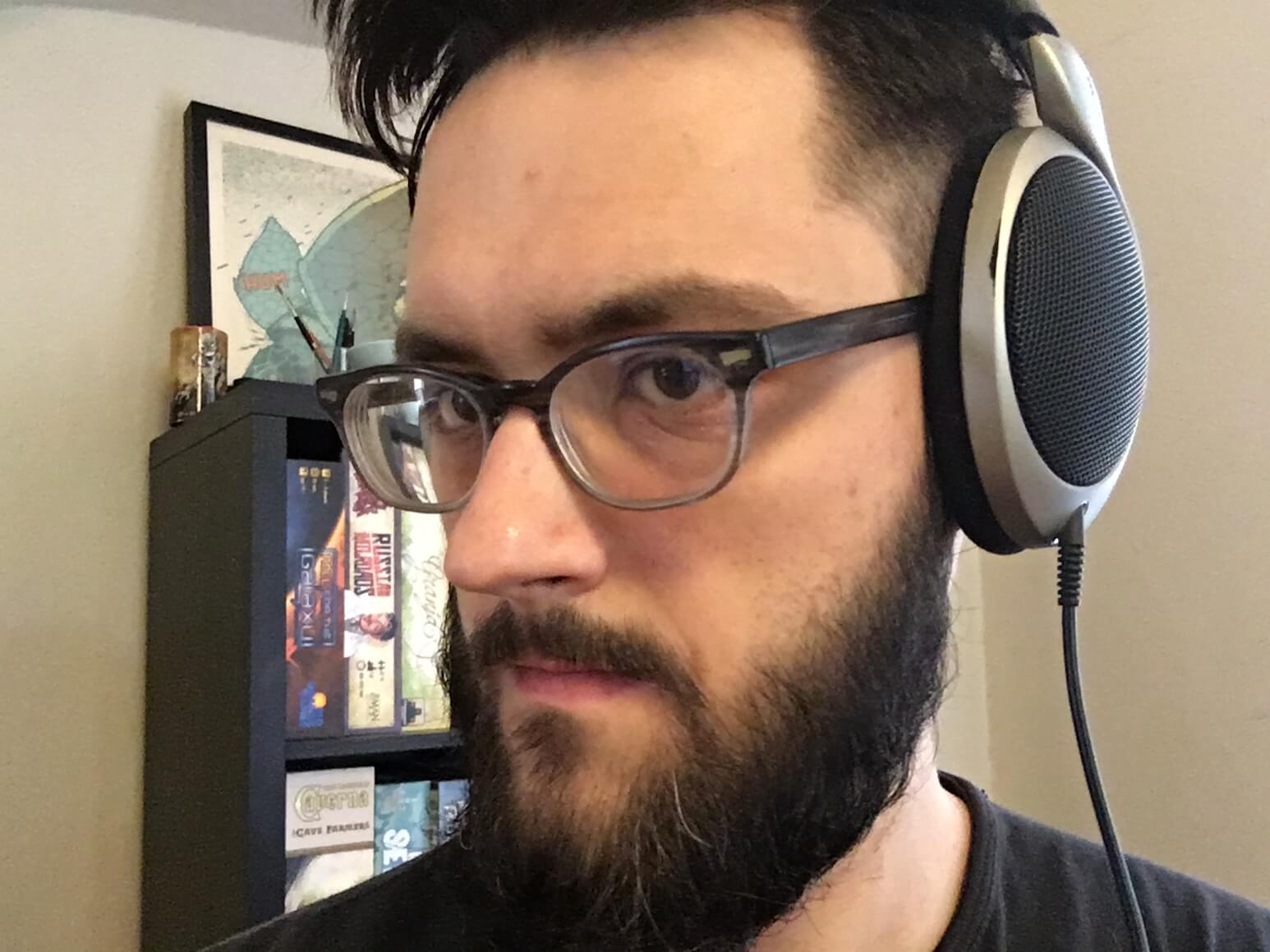 Aaron Zimmerman's Sennheisers match his beard.