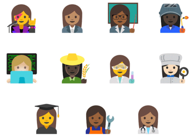 The new additions enable all kinds of different occupations for emoji women of many colors.