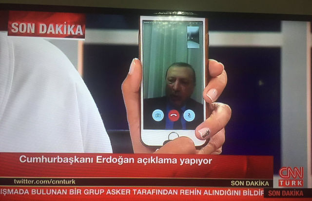 Turkish president uses FaceTime to call people out onto streets during coup