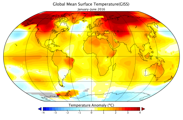 First half of 2016 hit record-setting global warmth