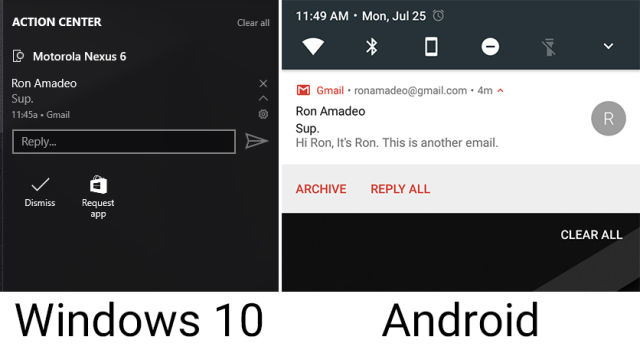 Android notifications on Windows 10: Microsoft does the bare