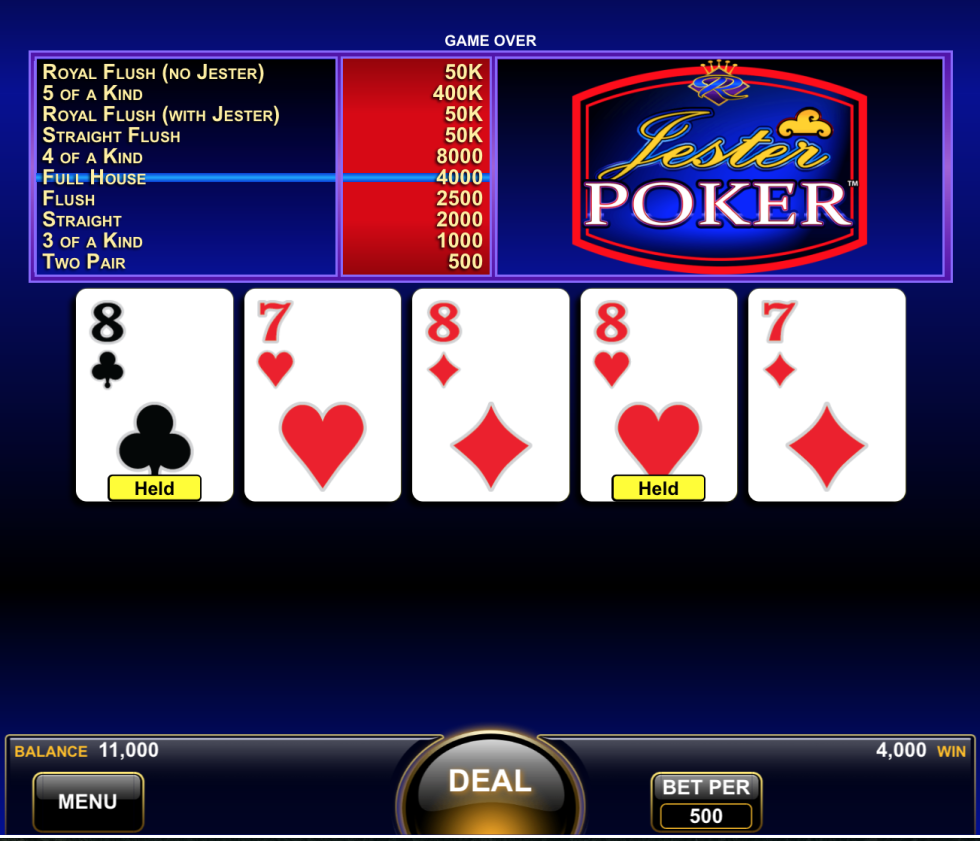 Jester Poker is one game you can play virtually at MGM Resorts in Vegas.
