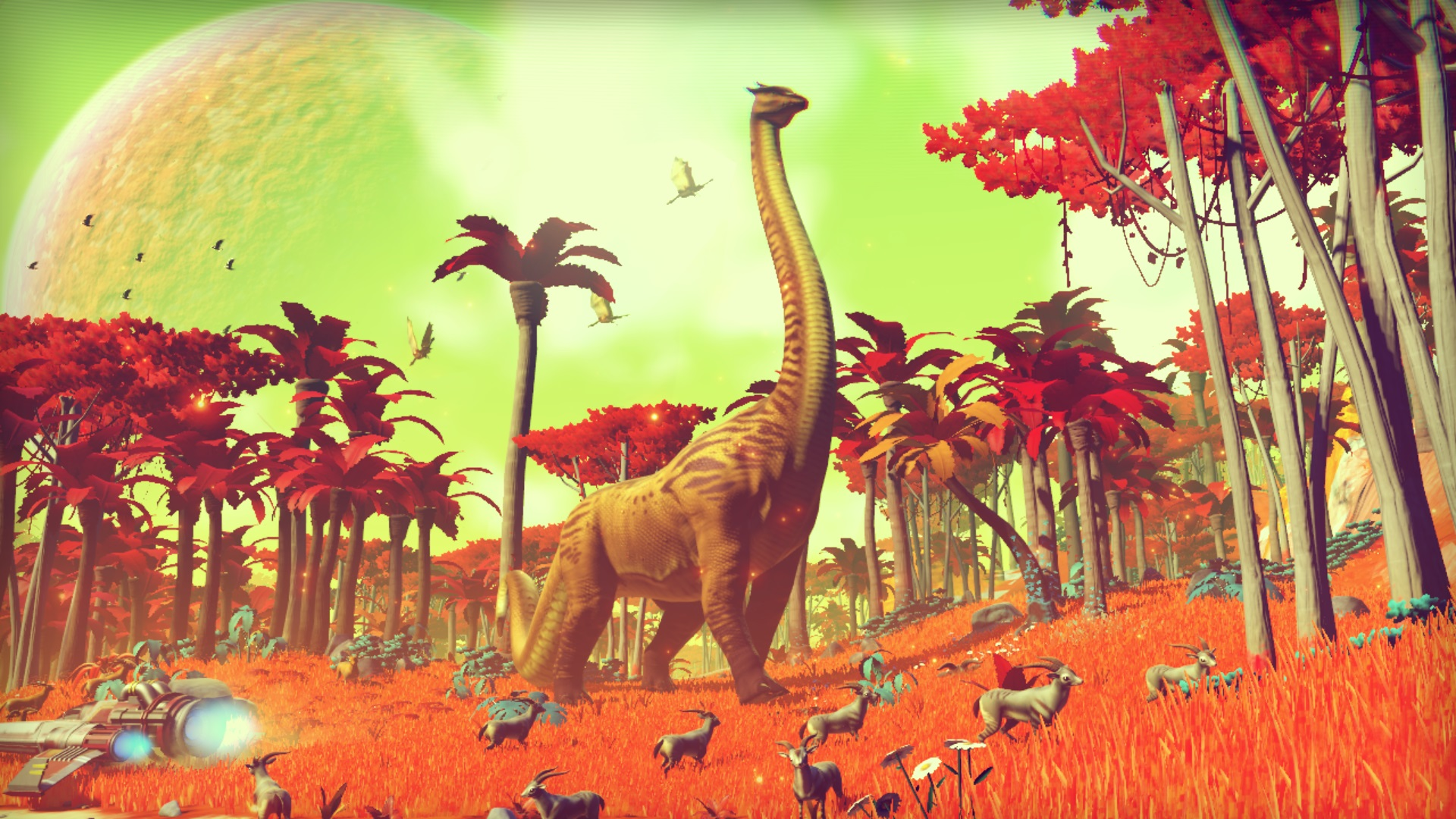 One of the earliest shots of <em>No Man's Sky</em>, from the game's first trailer, shows the promise of the game's procedural generation.