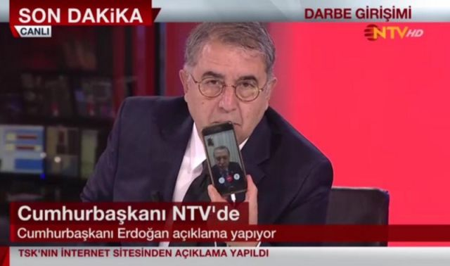Turkish president Recep Tayyip Erdoğan urges supporters to fight the coup attempt in Turkey via a FaceTime session with NTV as he fled to Istanbul.