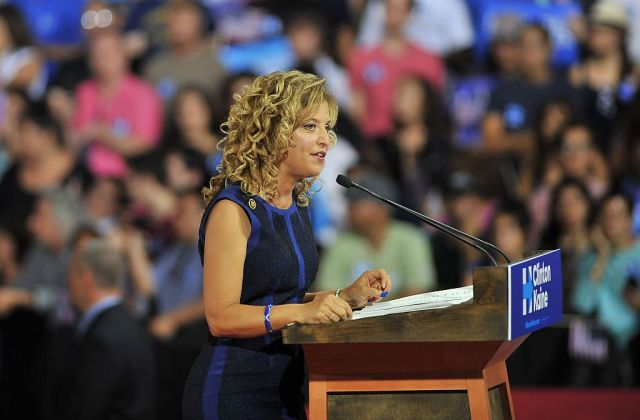 Democratic National Committee Chair Rep. Debbie Wasserman Schultz (D-Fla.) addresses a campaign rally for Hillary Clinton on Saturday. Wasserman Schultz has said she'll resign after the Democratic convention.