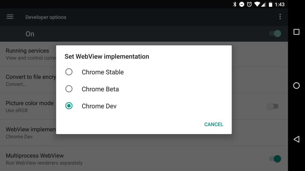 Android System WebView is dead. In-app web content is now handled by Chrome.