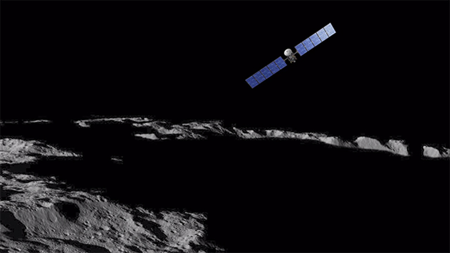 Artist's impression of the Dawn spacecraft over Ceres.