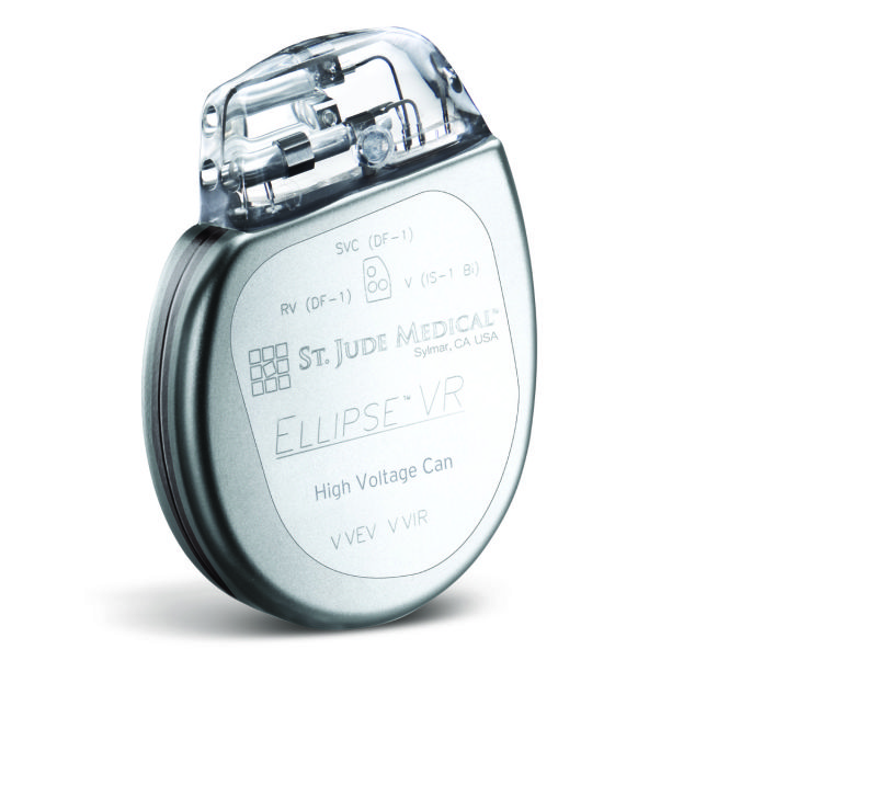 A St. Jude Medical cardiac defibrillator implant like the ones MedSec claimed to have found vulnerabilities in.