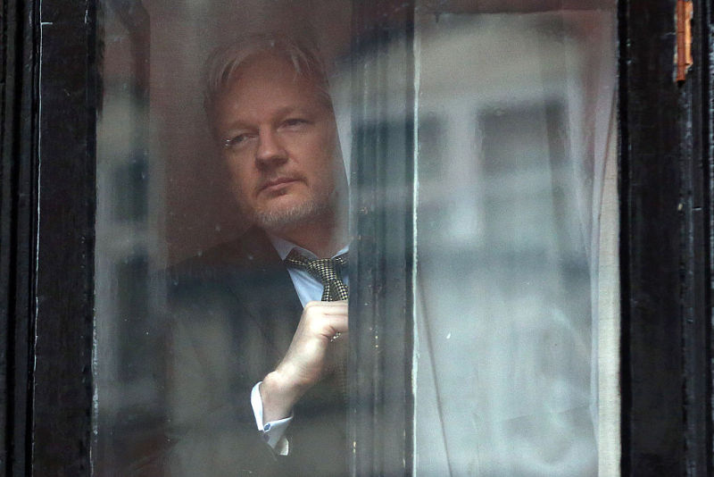 WikiLeaks founder Julian Assange prepares to speak from the balcony of the Ecuadorian embassy on February 5, 2016 in London, England.  Today, he can't get online.
