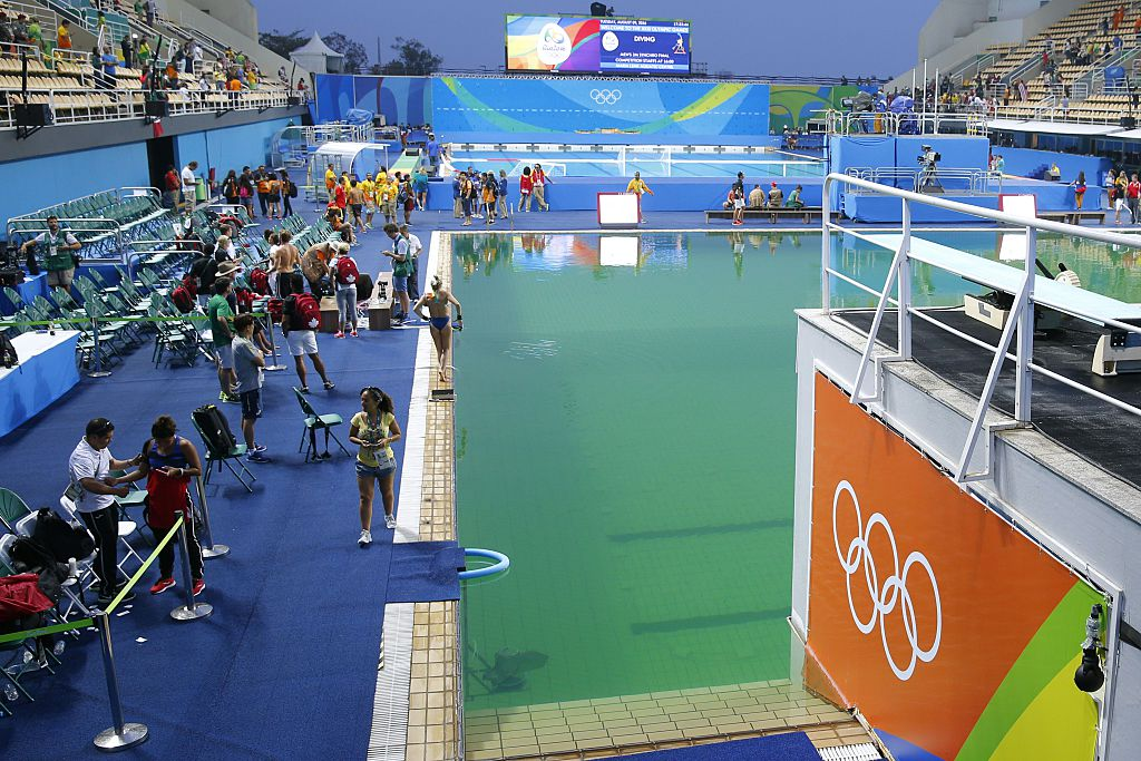 The Maria Lenk Aquatics Stadium in Rio de Janeiro on August 9, 2016. A diving event at the Rio 2016 Olympics (Women's Synchronized 10m Platform Final) is about to start.