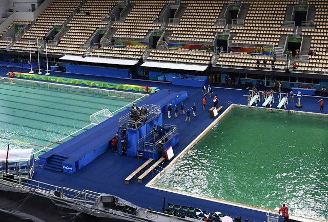 Rio diving pool—still green—now closed and smells like farts