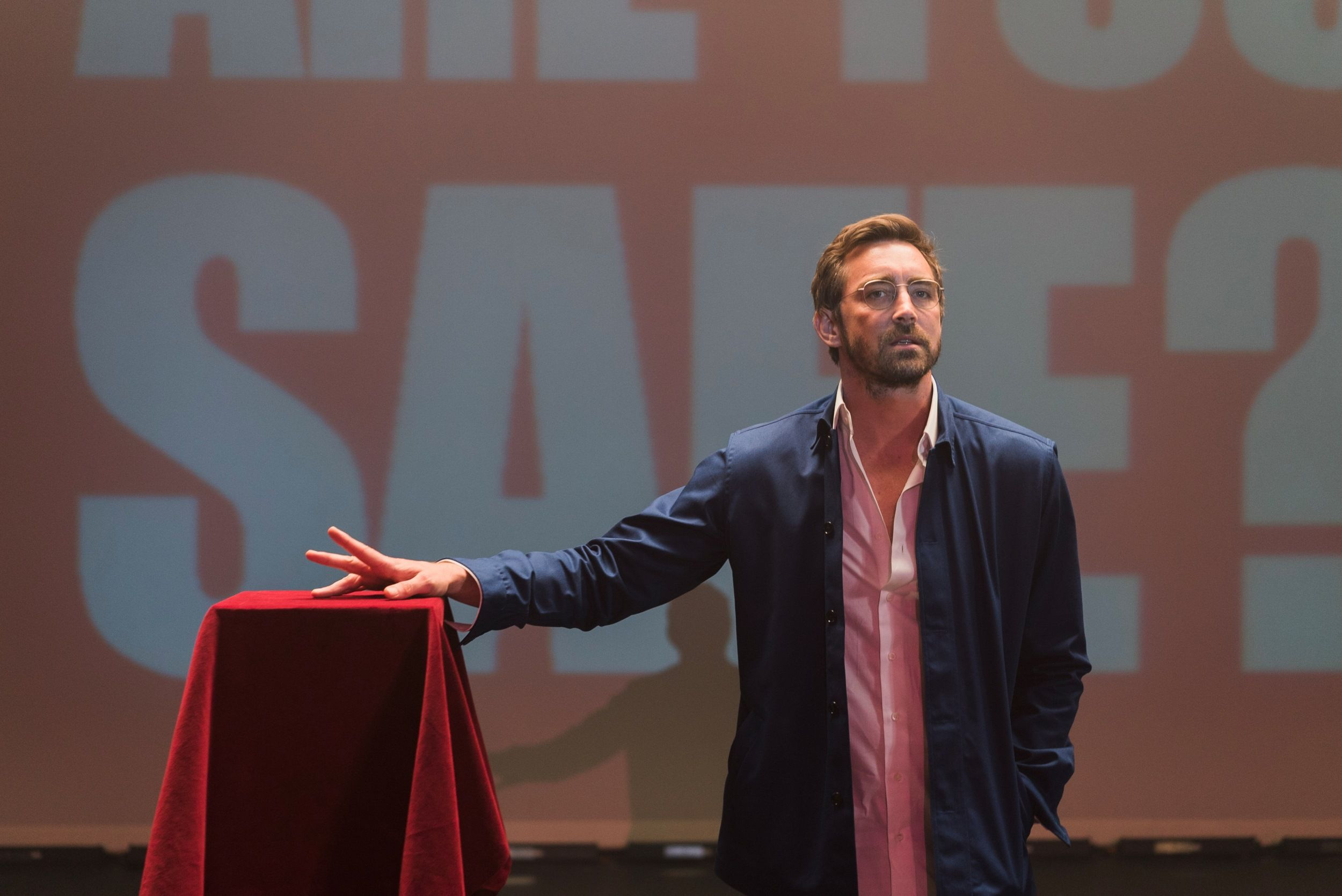 Evil marketing mastermind Joe (Lee Pace) announces the consumer version of his antivirus software, which is clearly a reference to McAfee.