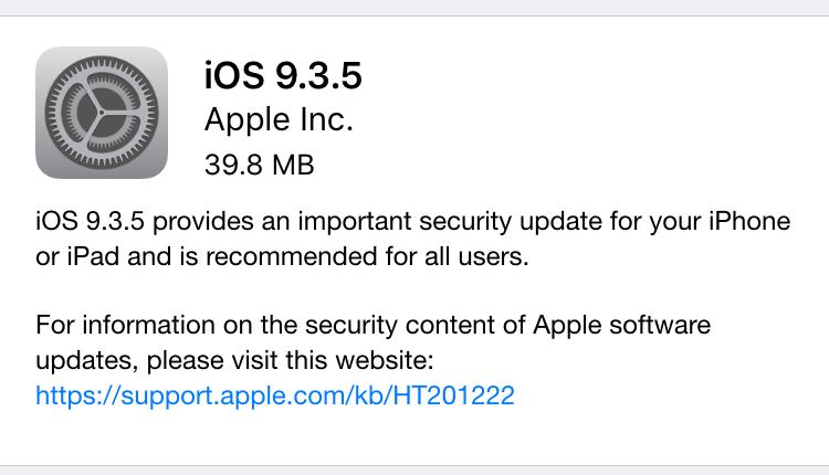 Apple releases iOS 9.3.5 to fix 3 zero-day vulnerabilities [Updated]