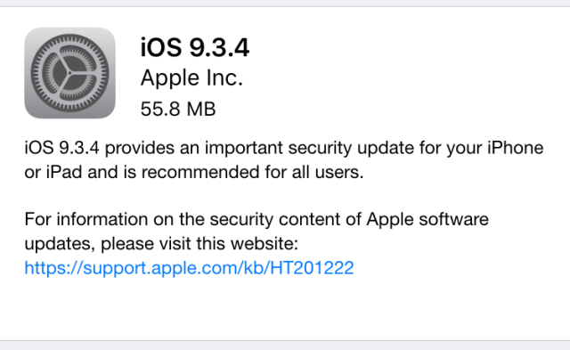 Apple thwarts jailbreakers with iOS 9.3.4 update