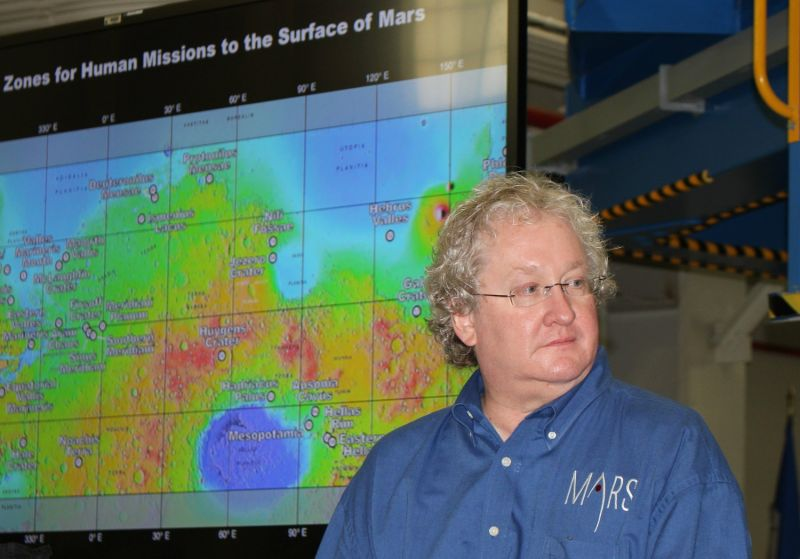 Bill Hill, manager of exploration systems development for NASA, speaks during a social media event Thursday at Michoud Assembly Facility in Louisiana.