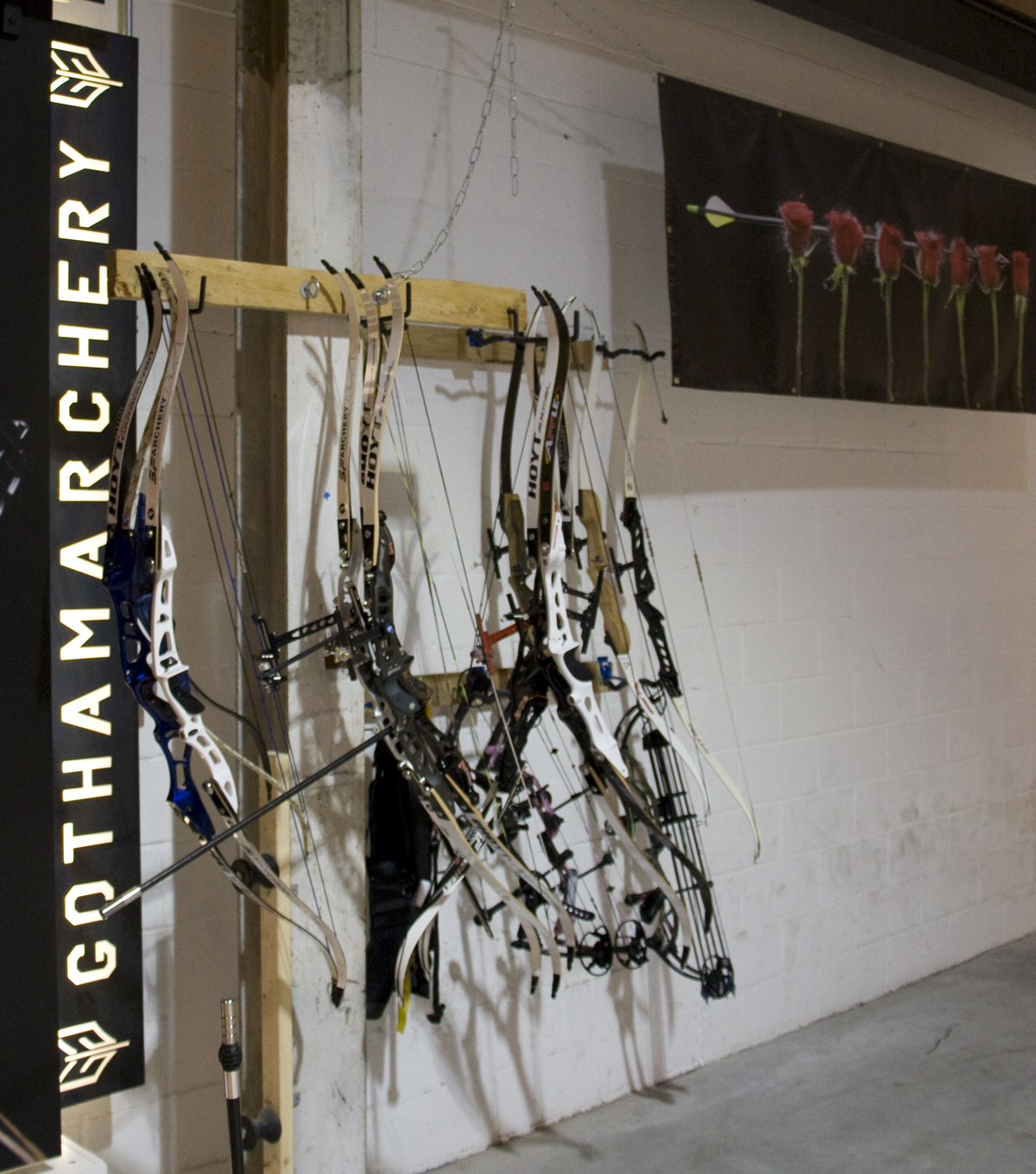 Some of the hardware on display at Brooklyn's Gotham Archery.