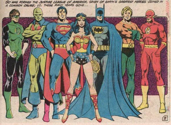 The Justice League. Left to right: Green Lantern, Martian Manhunter, Superman, Wonder Woman, Batman, Aquaman, The Flash.