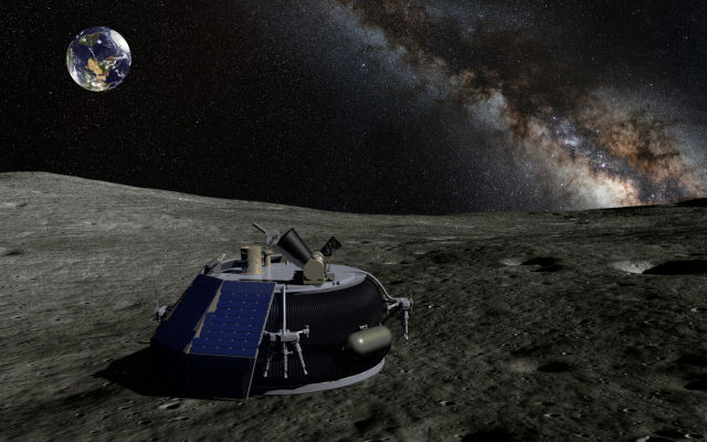 An artist's concept of Moon Express' MX-1 lander on the surface of the Moon.