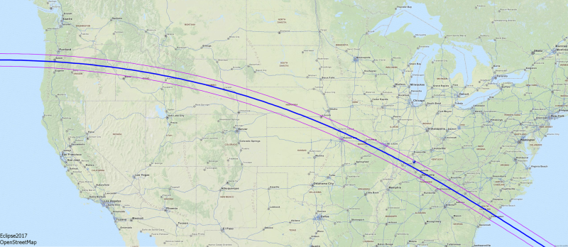 Path of totality for the August 21, 2017 total solar eclipse.