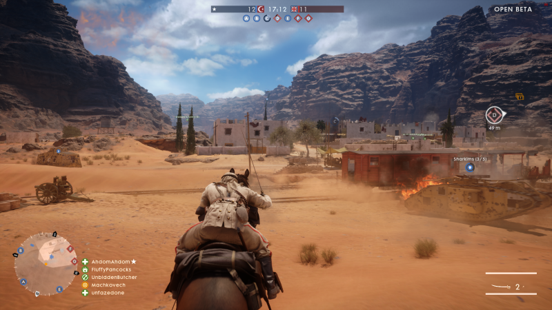 The expansive dunes of BF1's Sinai level give way to a more populated military outpost.