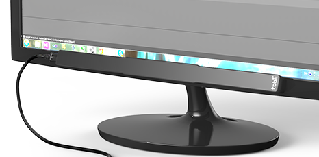 The EyeX must be placed like so on your monitor, so if the monitor isn't positioned in such a way that it can see your eyes, you'll need to rearrange your desk accordingly. I wish Tobii had included an angle-adjustment knob of some sort.