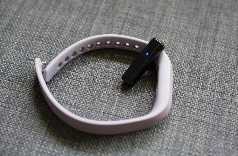 The Flex 2's module is super tiny and slides into this silicone band.