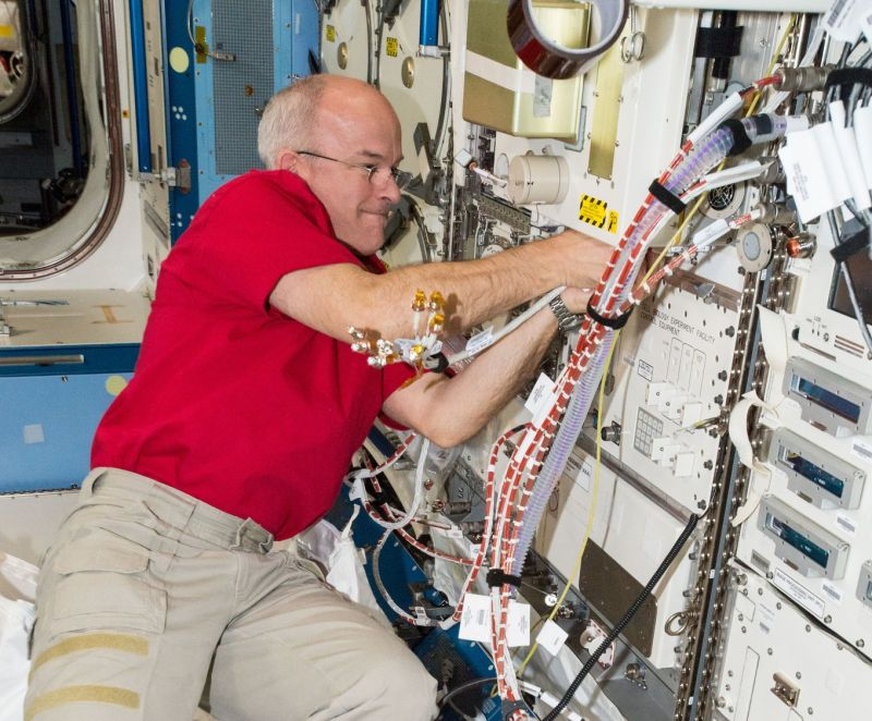Jeff Williams works aboard the Space Station in April.