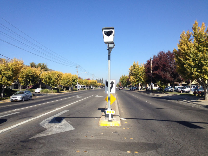 A Redflex red light camera at the intersection of Sylvan and Coffee in Modesto, California as seen in 2013.