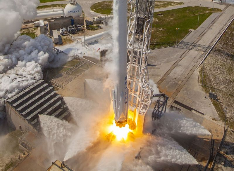 What the business end of a Falcon 9 rocket looks like during a launch.