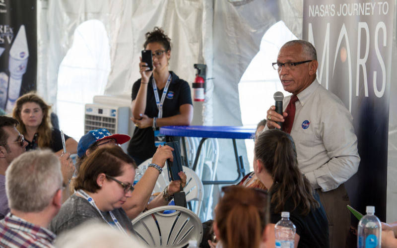 Administrator Charles Bolden speaks with NASA Social attendees on Thursday, September 8 at Kennedy Space Center.