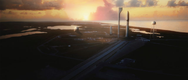 """Artist's conception of the modified <a href=""""https://en.wikipedia.org/wiki/Kennedy_Space_Center_Launch_Complex_39"""">pad 39A</a> just before a SpaceX ITS launch."""
