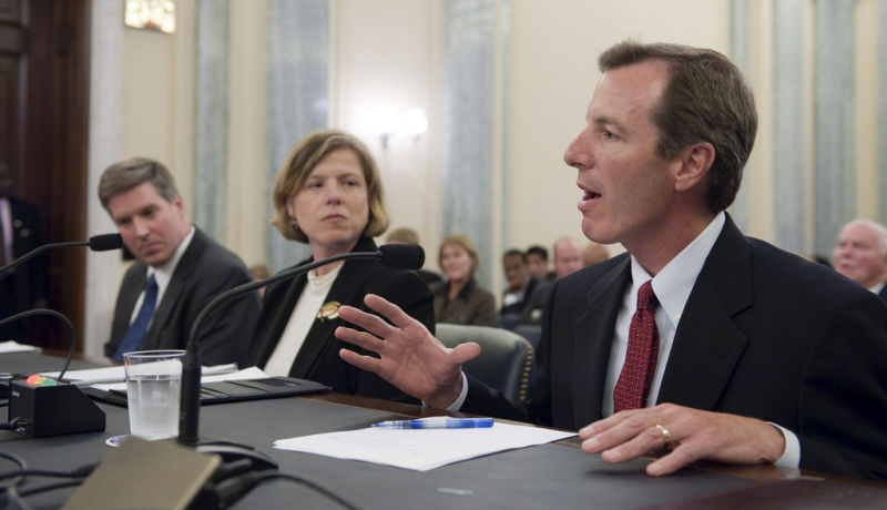 Paul K. Martin, nominee for inspector general at NASA, answers questions during his confirmation hearing in front of the Senate Committee on Commerce, Science, and Transportation in 2009.