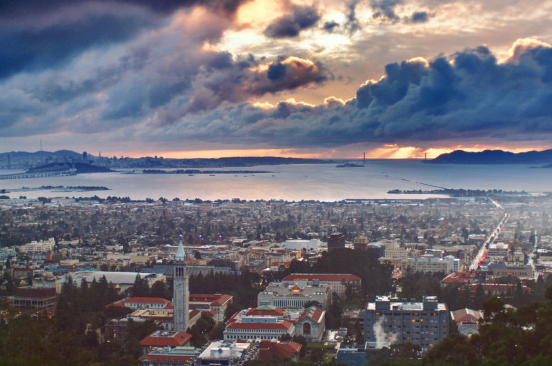 The city of Berkeley, as seen in the foreground, looking west toward San Francisco.