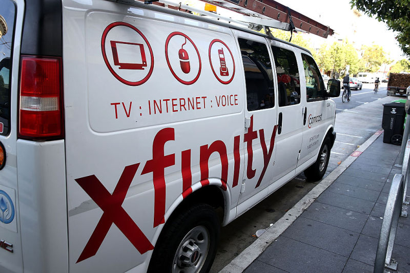 A Comcast service vehicle.