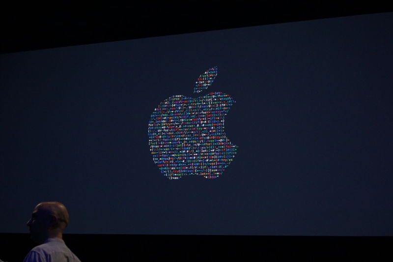 The Apple logo onstage at WWDC 2016.