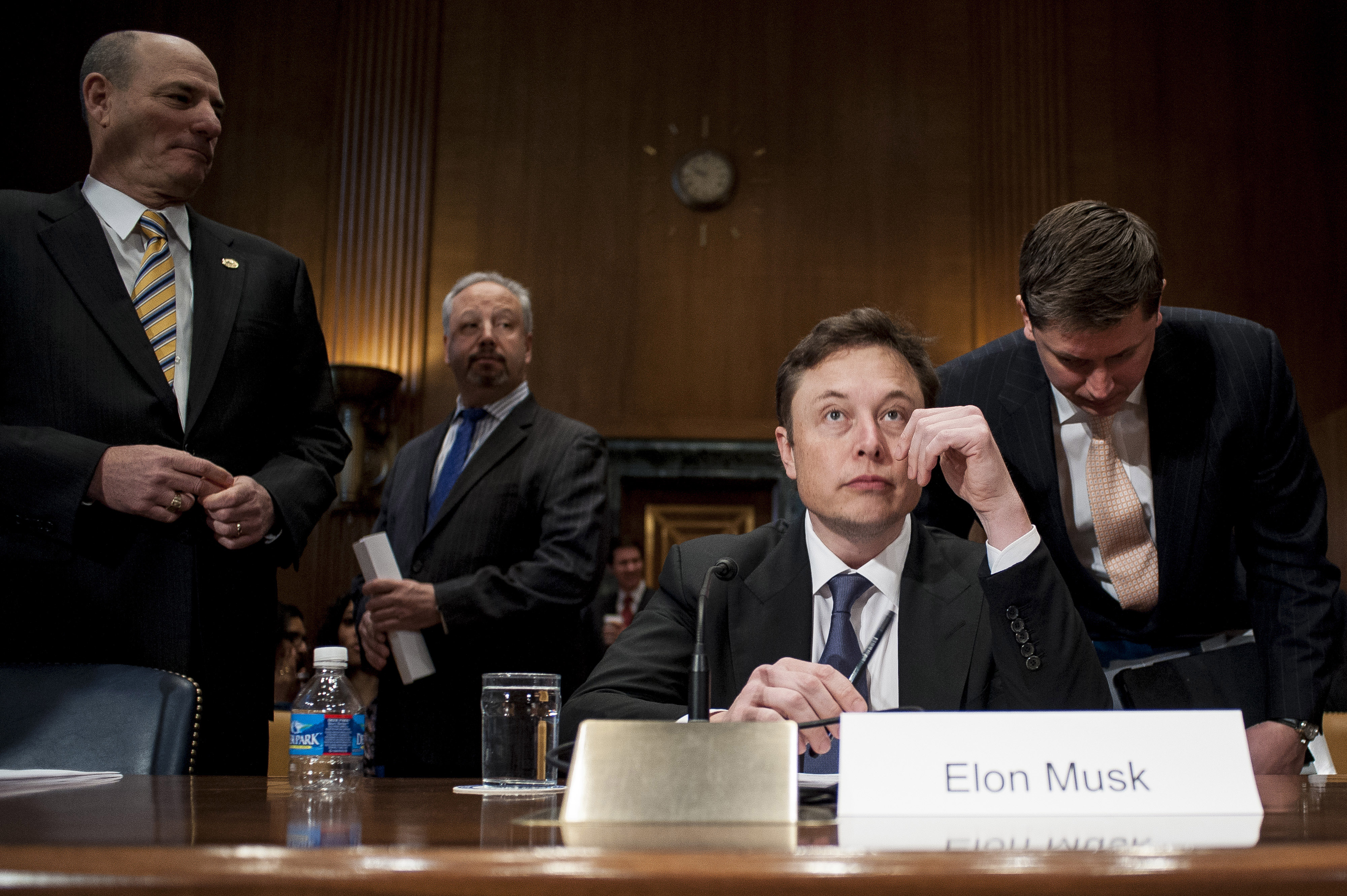 between a rocket and a hard place elon musk to give the speech of  enlarge elon musk prepares to testify at a senate appropriations subcommittee hearing in washington d c u s on wednesday 5 2014