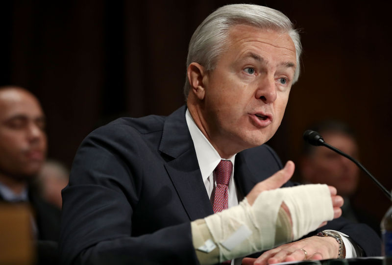 John Stumpf, chairman and CEO of the Wells Fargo & Company, testifies before the Senate Banking, Housing and Urban Affairs Committee September 20, 2016 in Washington, DC. (Photo by Win McNamee/Getty Images)