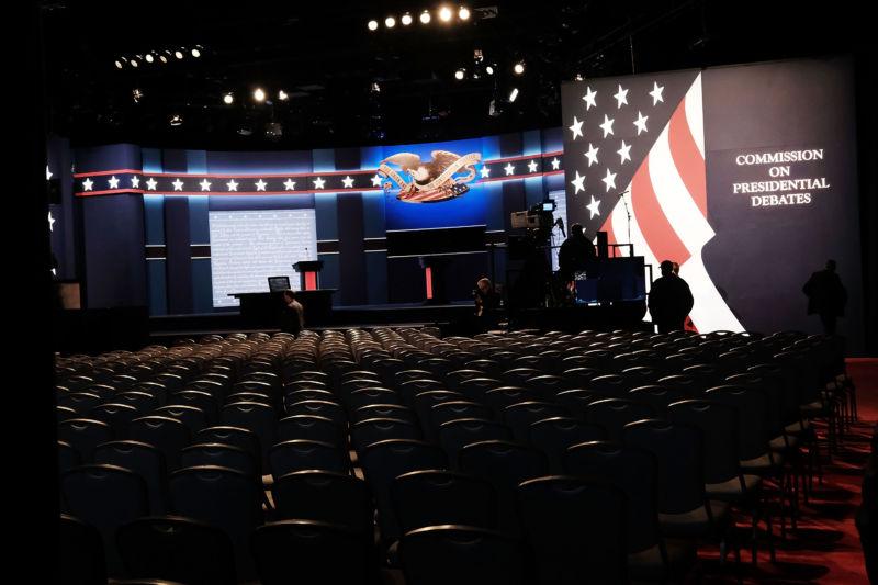 The debate hall at Hofstra University hours before the debate is set to begin.