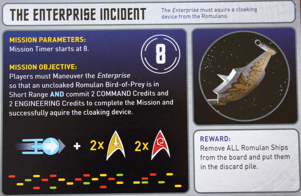 "One of the many ""mission cards"" in the game."