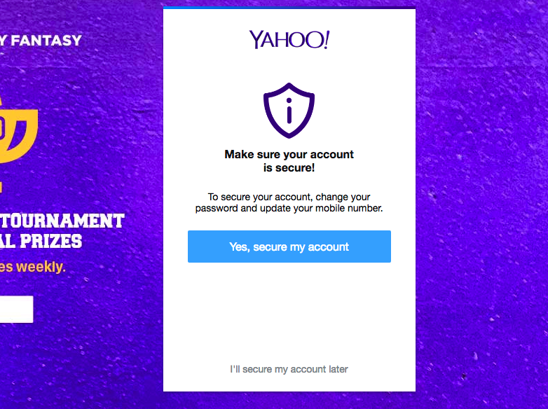 The message Yahoo users are now seeing at login.
