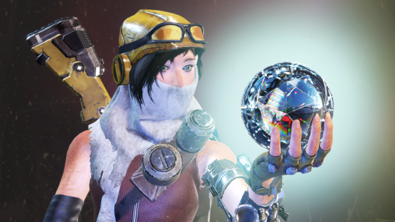 <em>ReCore</em> protagonist Joule, seen here feeling strong about her newest shiny pick-up.
