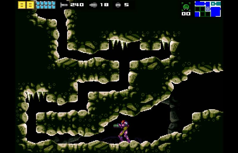 A scene from <i>Another Metroid 2 Remake</i>, one of many fan games recently taken offline by Nintendo DMCA requests.